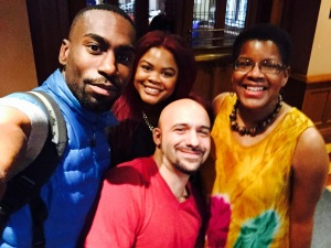 Left to right: DeRay Mckesson, Johnetta Elzie, author Daniel Jose Older, and me.